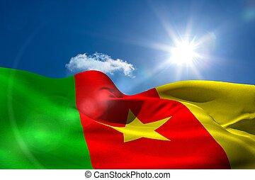 camerún, bandera nacional, debajo, soleado, cielo