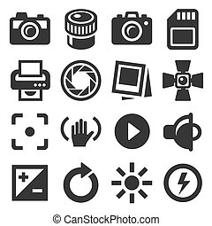 Camera Accessories and Photography Icons Set. Vector