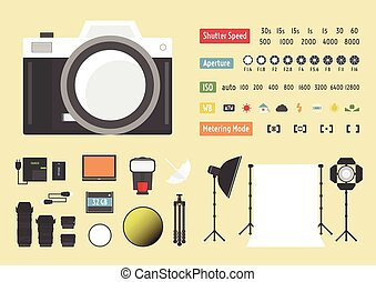 camera accessories - camera infographic, hybrid photography...