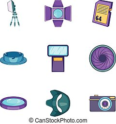 Camera accessories icons set, cartoon style