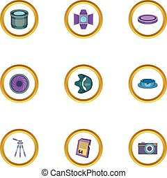Camera accessories icons set, cartoon style