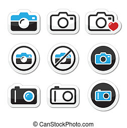Camera analogue and digital icons s