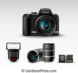 Realistic photo camera and flash lens sd card accessory set vector illustration