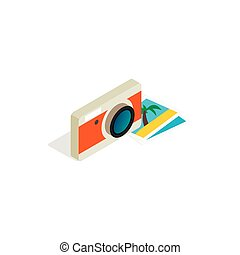 Camera and photos icon, isometric 3d style