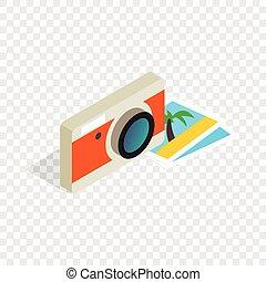 Camera and photos isometric icon