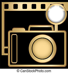 Camera and slide - Camera and film of golden color on a...