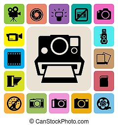 camera and Video icons set