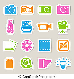Camera and Video sticker icons set ,Illustration