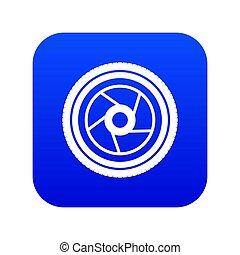 Camera aperture icon digital blue