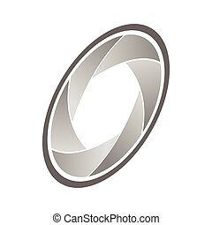 Camera aperture icon, isometric 3d style