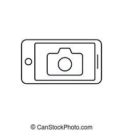 Camera Application Smart phone. Editable Stroke
