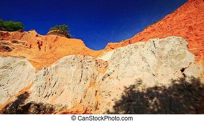 Camera Approaches White and Orange Fairy Stream Cliffs -...