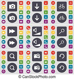 Camera, Arrow down, Bicycle, Rewind, Volume, Magnifying glass, Projector, Reload icon symbol. A large set of flat, colored buttons for your design. Vector