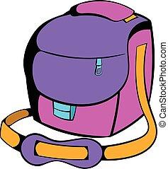 Camera bag icon cartoon