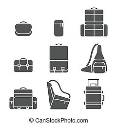 Camera bag icon set