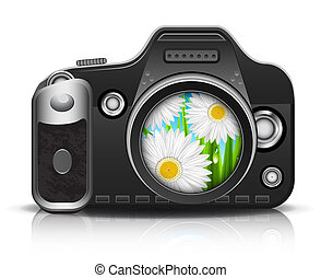 Camera - Beautiful view through the lens. Vector...