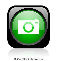 camera black and green square web glossy icon