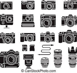Camera black icons set. Vector illustration.