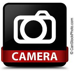 Camera black square button red ribbon in middle