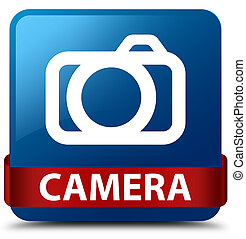 Camera blue square button red ribbon in middle