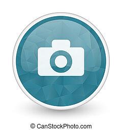 Camera brillant crystal design round blue web icon.
