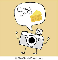 cute funny camera with say cheese text ballon, legs and arms hand drawn on solid color background easy to isolate
