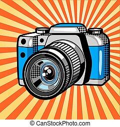 Camera comic book style vector