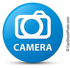 Camera cyan blue round button