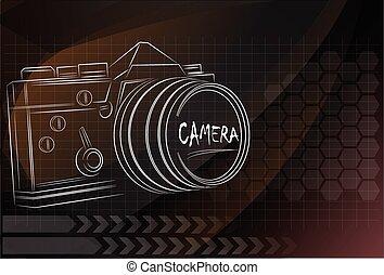 camera design on technology background ,vector illustration.