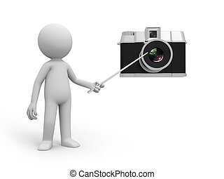 camera - A 3d people pointing at the camera with a stick