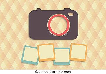 camera - retro camera with photos on creative background