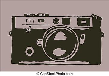 Grunge Camera Vector : Grunge ink camera. vintage retro grunge photo camera poster ink