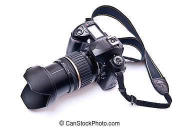 Camera equipped with zoom lens isolated on white