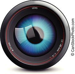 camera eye on white