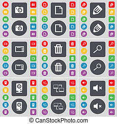 Camera, File, Pencil, Microwave, Trash, Magnifying glass, Speaker, Connection, Mute icon symbol. A large set of flat, colored buttons for your design.