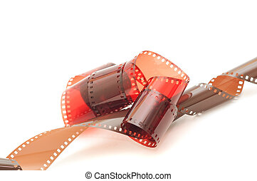 Close up image of an old 35 mm negative film strip.