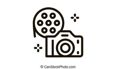 camera film Icon Animation. black camera film animated icon on white background
