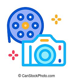 camera film icon vector outline illustration