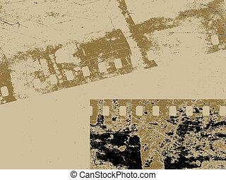 camera film on brown background, vector illustration