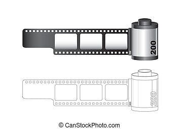 Camera film roll with lines isolated over white background....