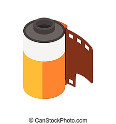 Camera film roll icon, isometric 3d style