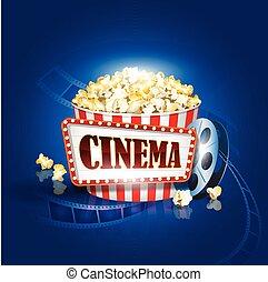 Camera film strip and popcorn on blue background. Detailed vector illustration