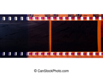 Camera film strip isolated on white.