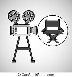 camera film vintage with movie director chair