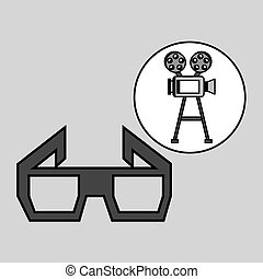 camera film vintage with movie glasses