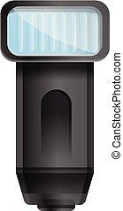 Camera flash icon, cartoon style