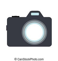 Camera flat icon isolated on white background