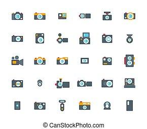 Camera Flat Icon Set ,Vector Illustration.