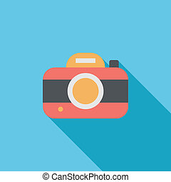 camera flat icon with long shadow