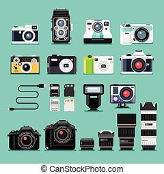 Camera flat icons. Vector illustration.